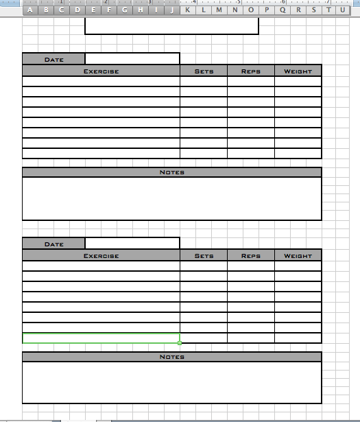 Personal workout log template for Personal training program template
