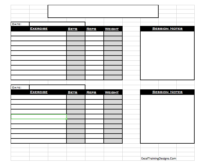 Personal Training Workout Log Template | AV Workout